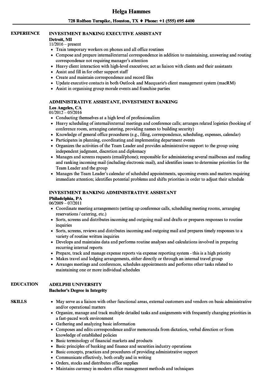 investment assistant resume samples