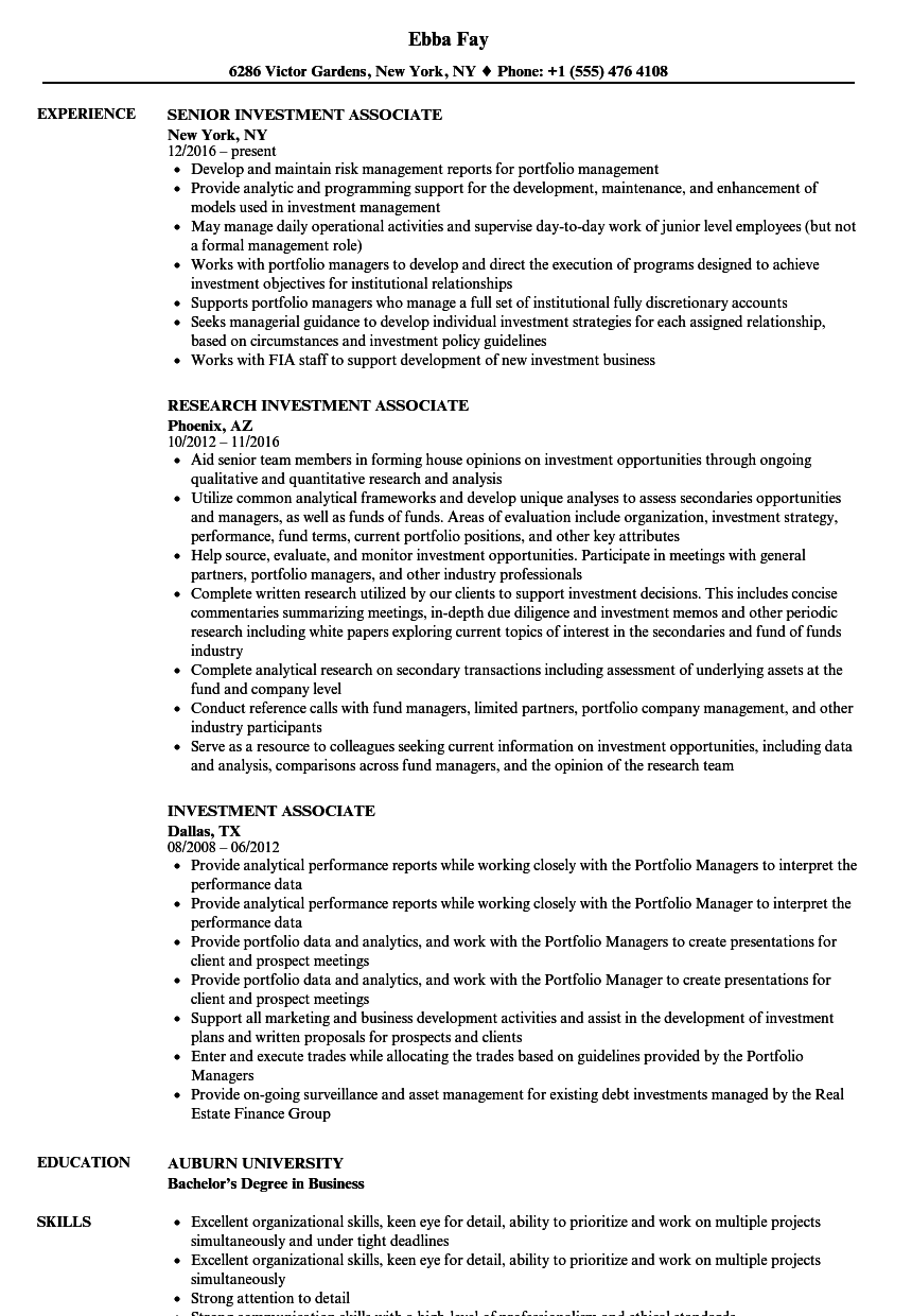 investment associate resume samples