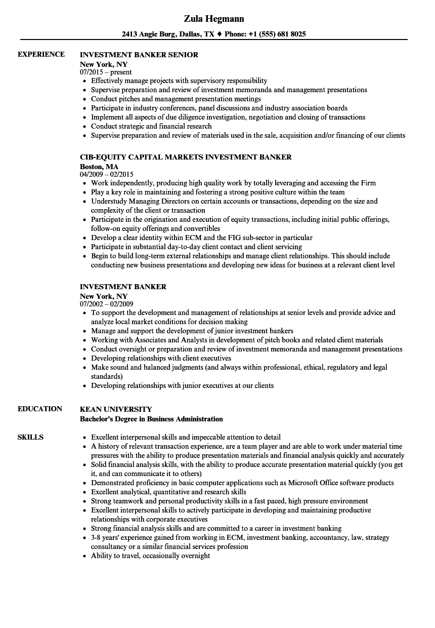 investment banker resume samples velvet jobs