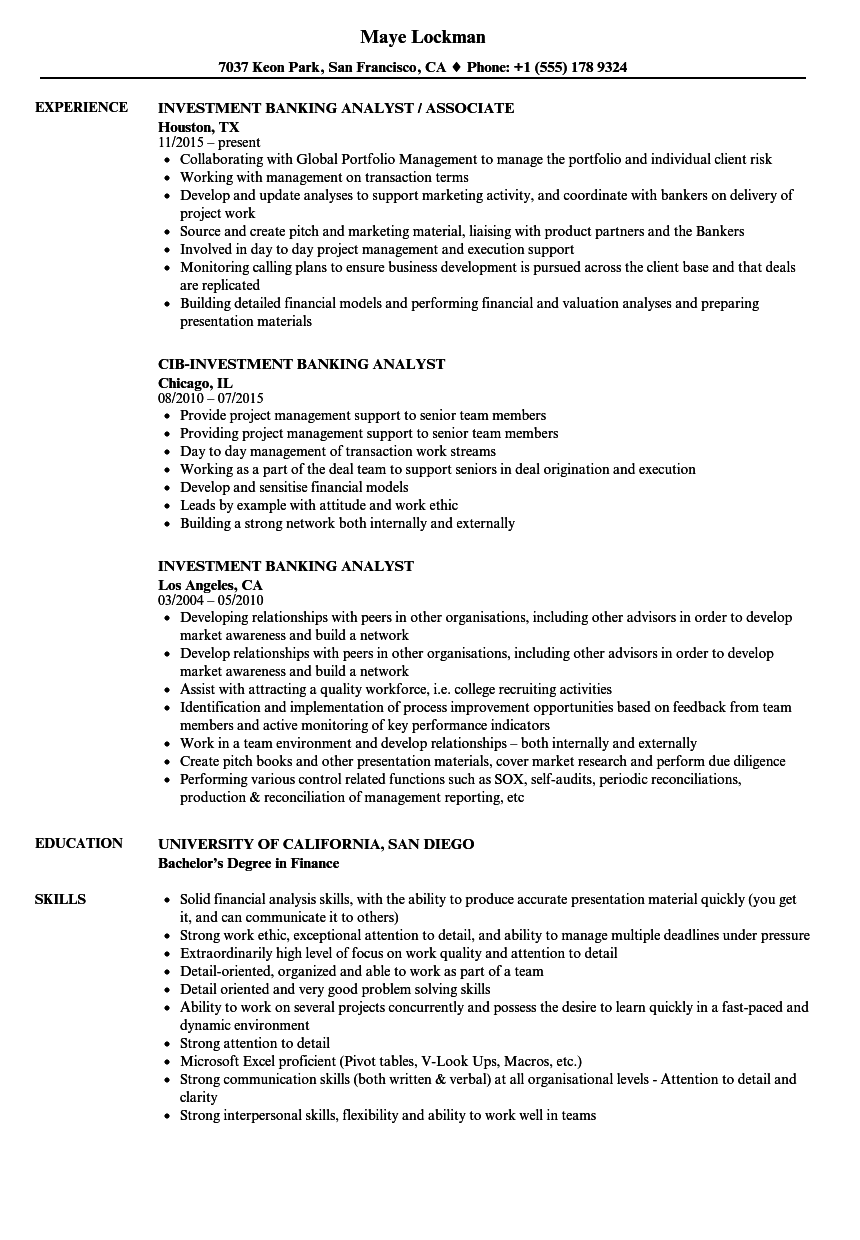 Investment Banking Analyst Resume Samples | Velvet Jobs