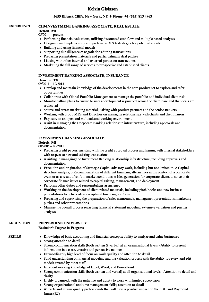 Investment Banking Associate Resume Samples | Velvet Jobs