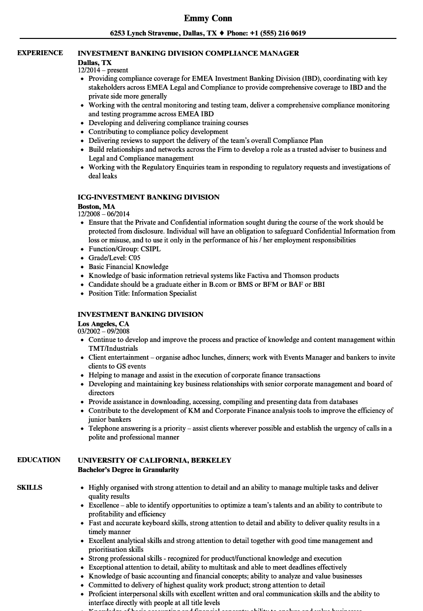 investment banking division resume samples