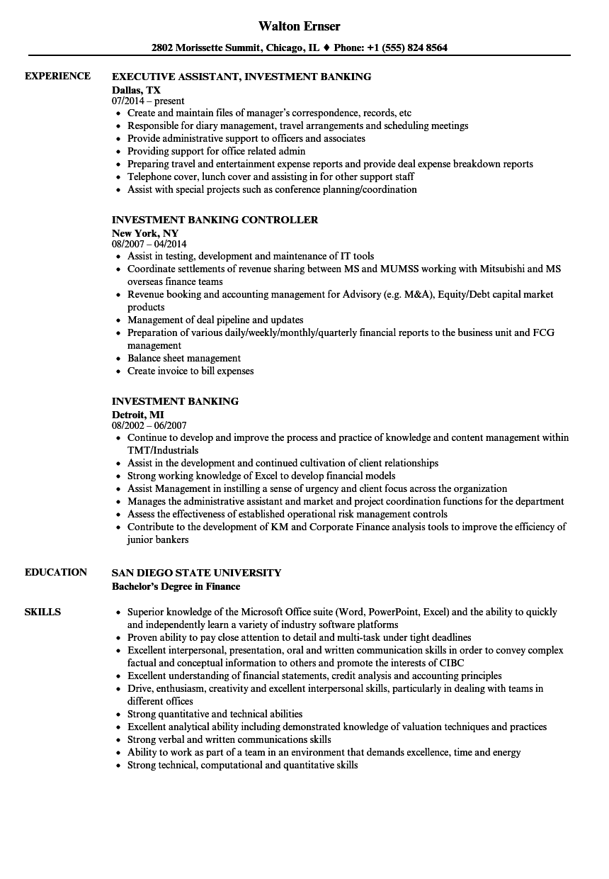 Investment Banking Resume Samples | Velvet Jobs