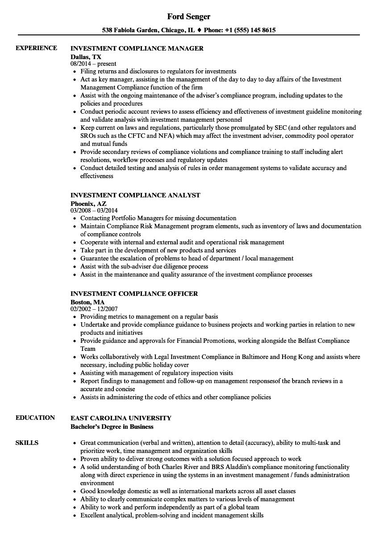 investment compliance resume samples velvet jobs