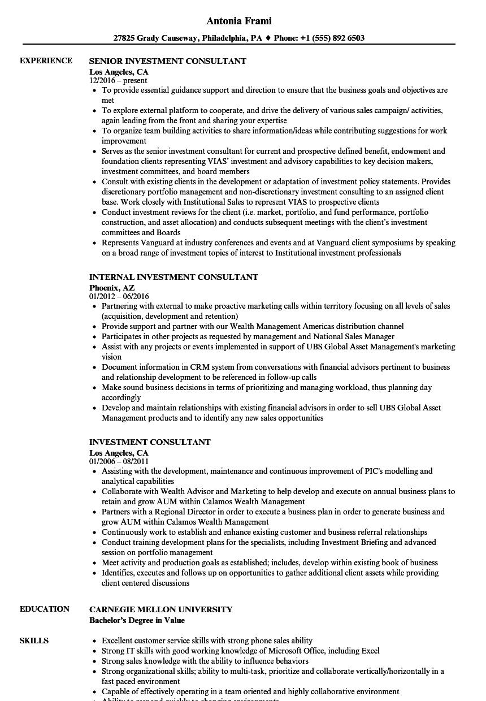 investment consultant resume samples