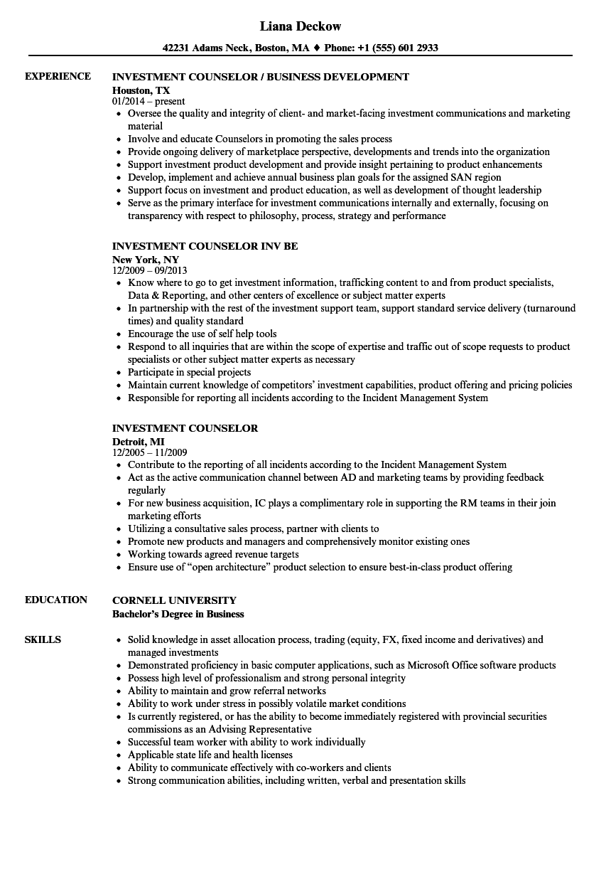 Investment Counselor Resume Samples | Velvet Jobs