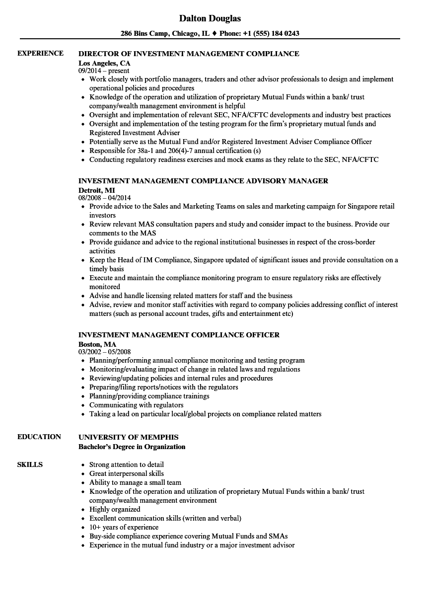 Investment Management Compliance Resume Samples | Velvet Jobs