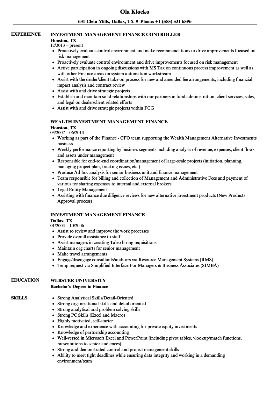 investment management finance resume samples