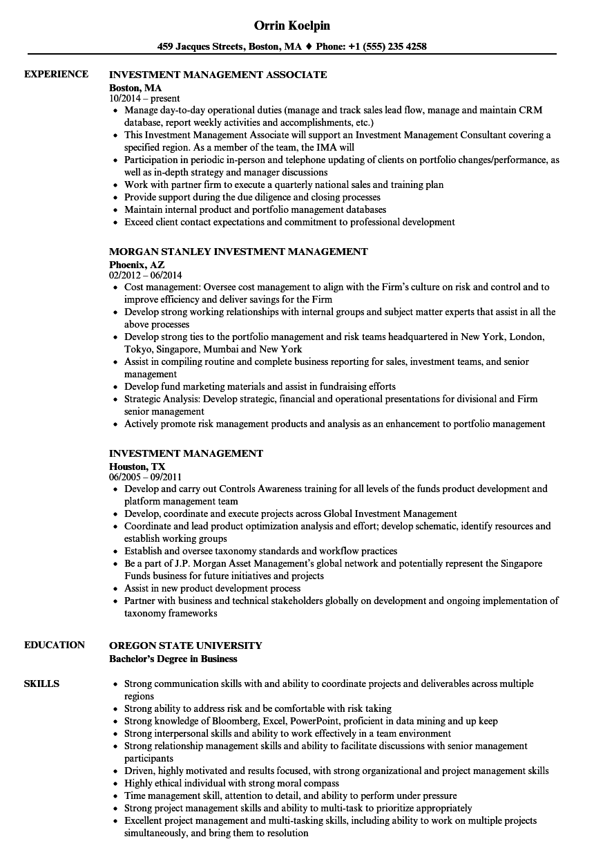Investment Management Resume Samples | Velvet Jobs