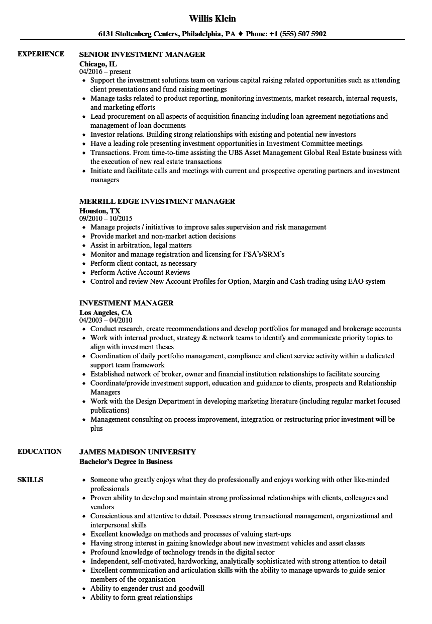 Investment Manager Resume Samples Velvet Jobs