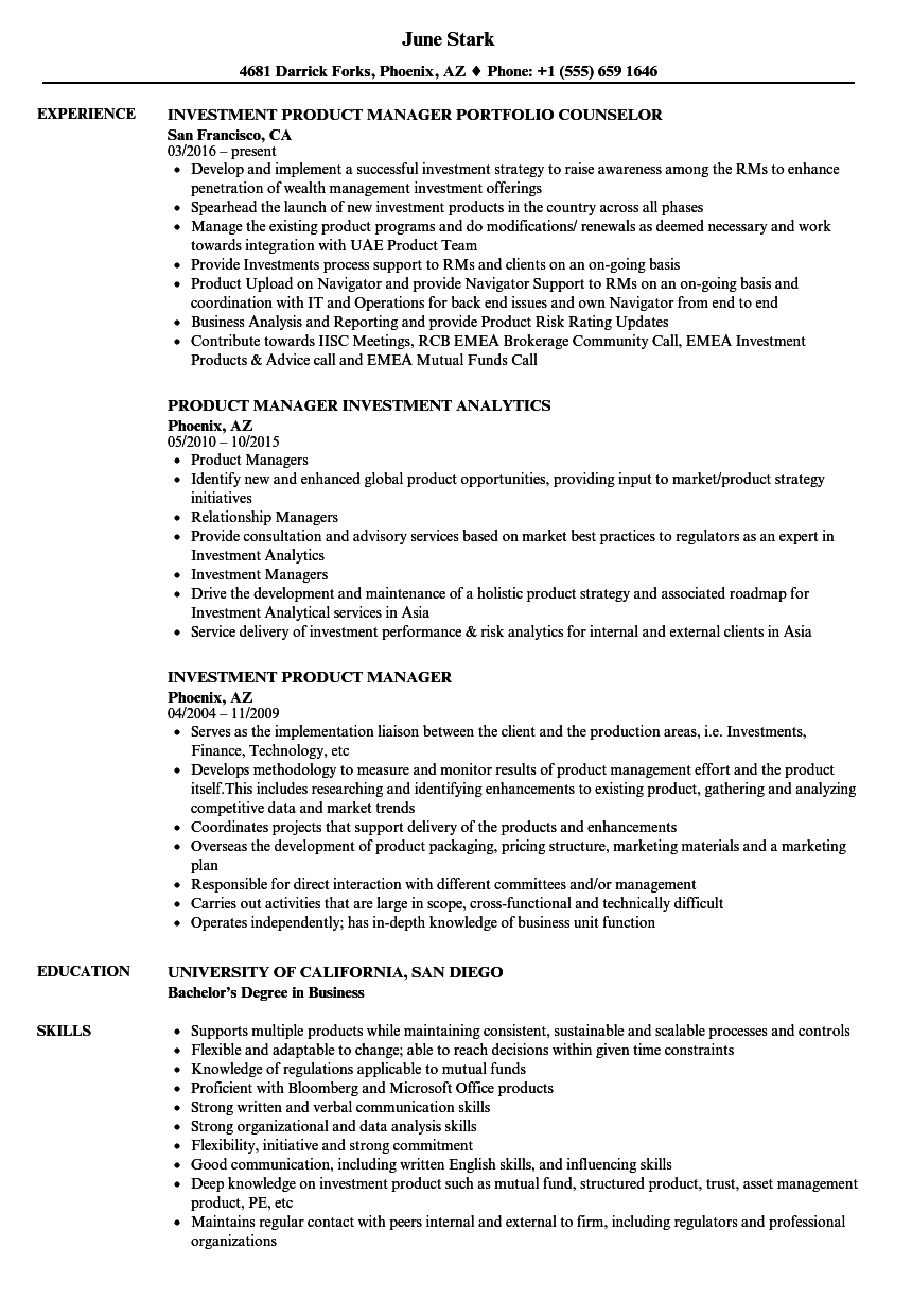 investment product manager resume samples velvet jobs
