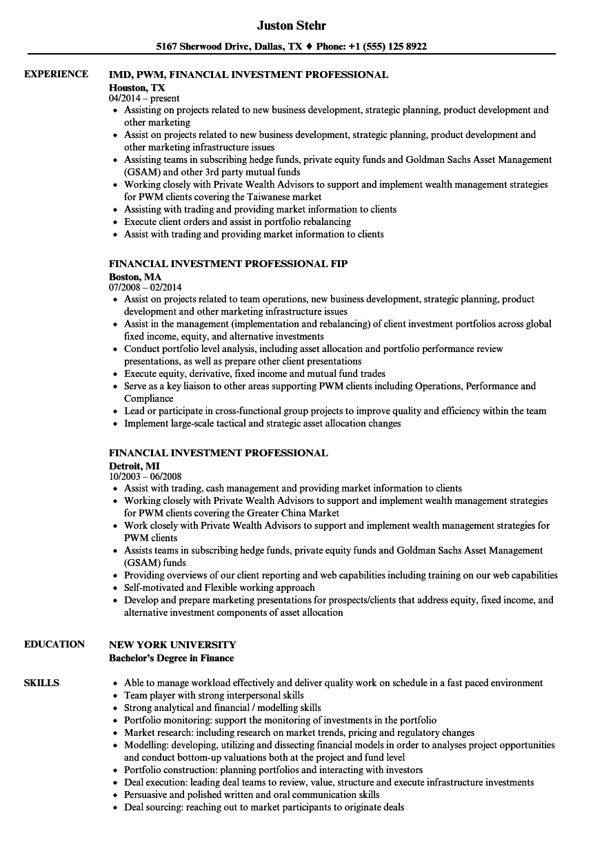 Investment Professional Resume Samples Velvet Jobs
