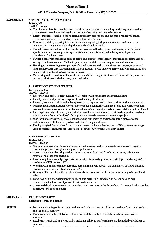 investment writer resume samples