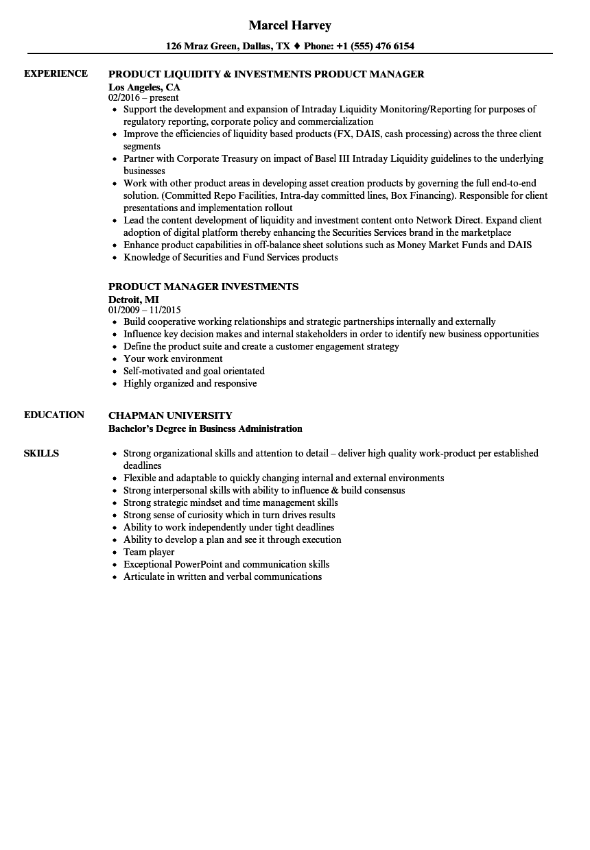 download investments product manager resume sample as image file