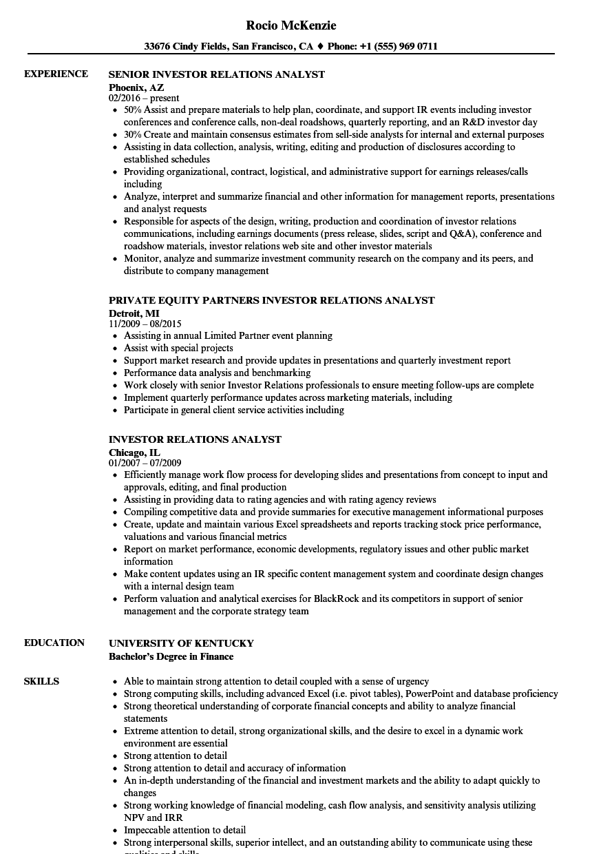 investor relations analyst resume samples