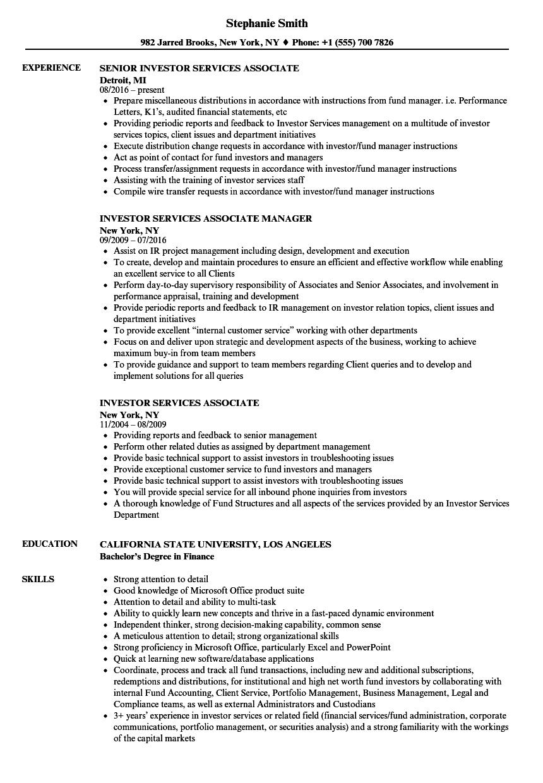 Sample Resume For Fund Of Fund Investor