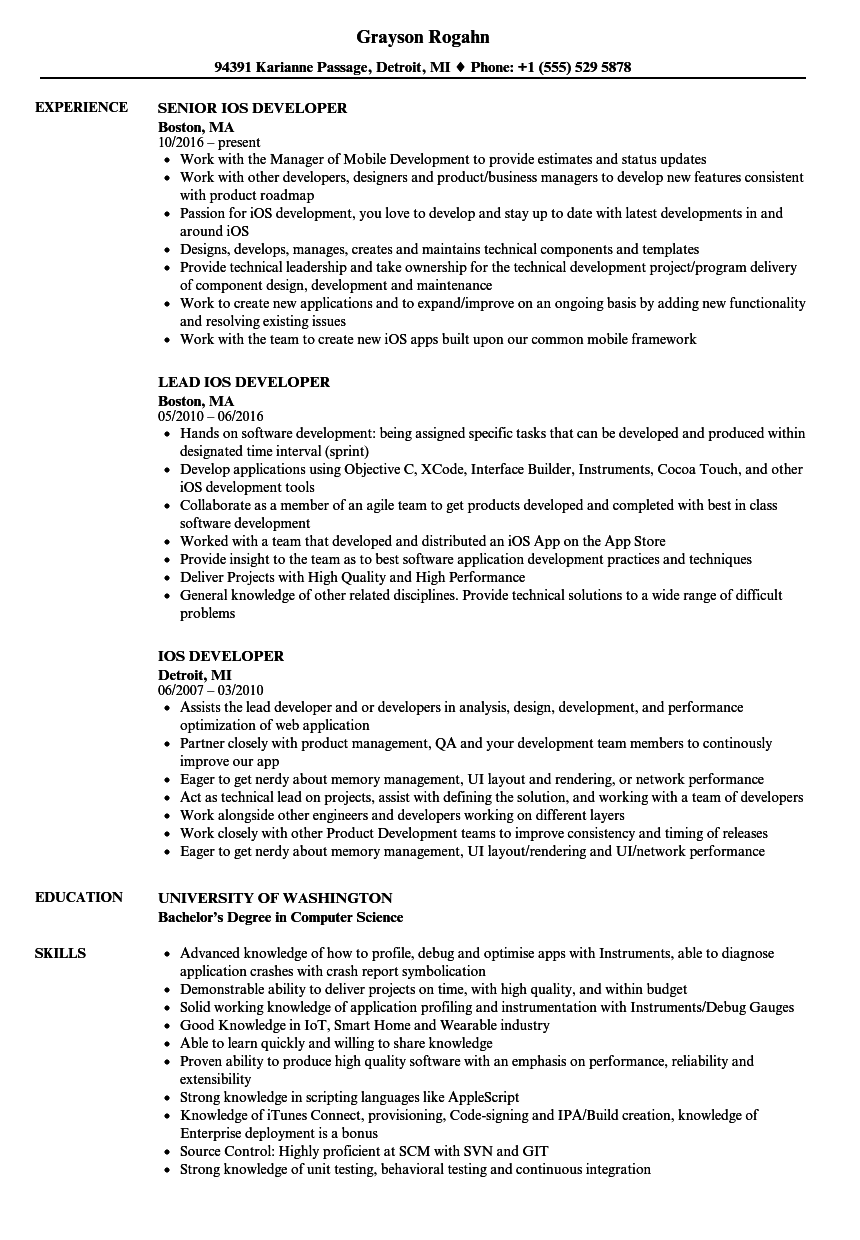 download ios developer resume sample as image file