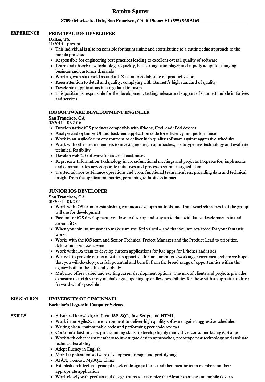 iOS Resume Samples | Velvet Jobs