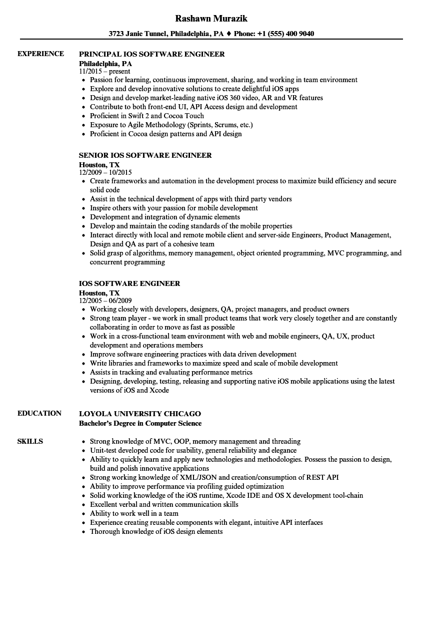 ios software engineer resume samples