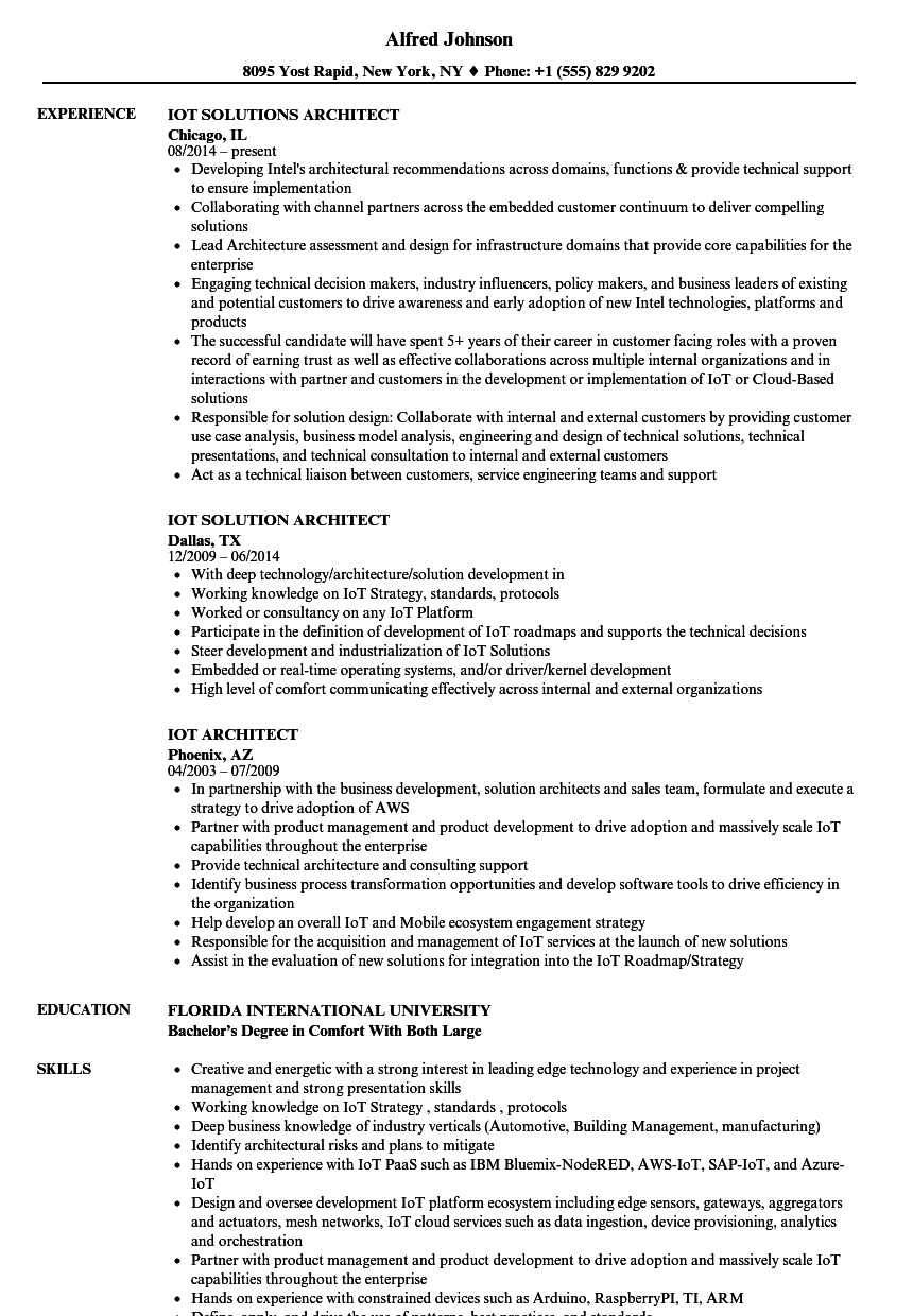 IoT Architect Resume Samples | Velvet Jobs