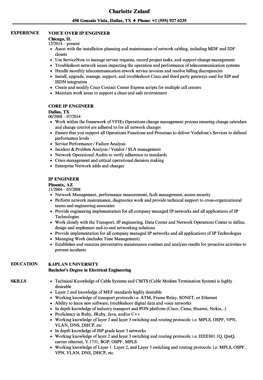 ip engineer resume samples