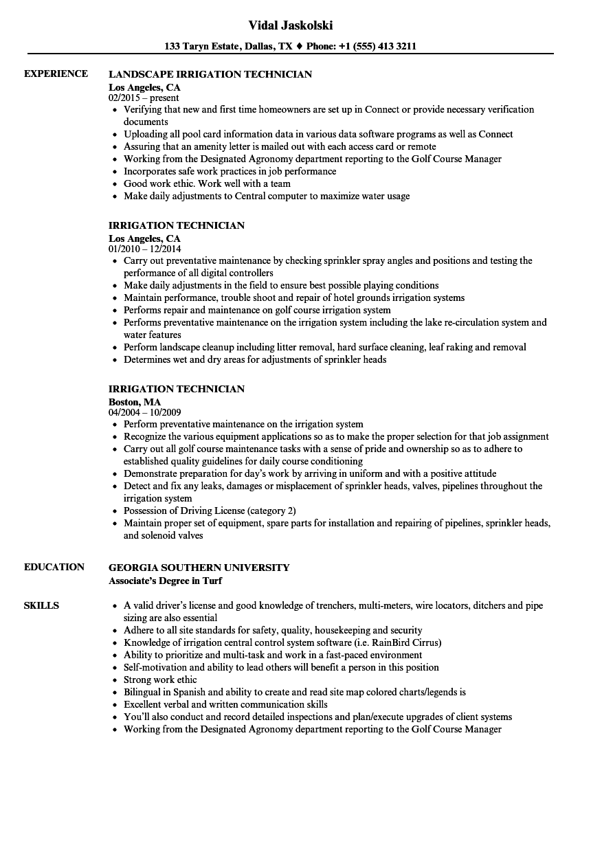 Irrigation Technician Resume Samples | Velvet Jobs