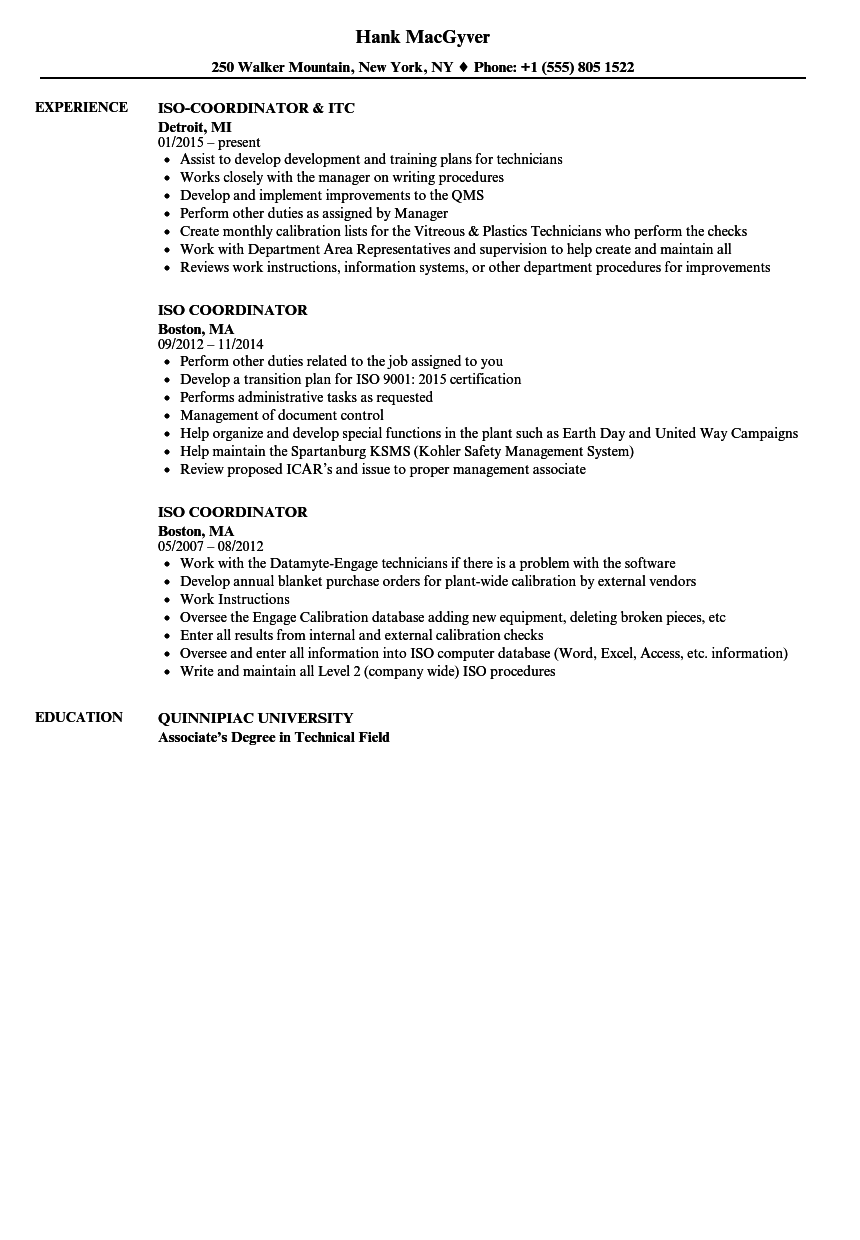 download iso coordinator resume sample as image file