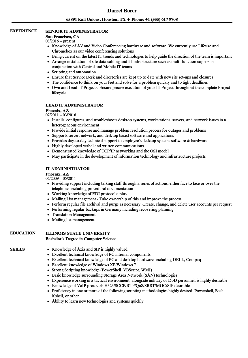 It Administrator Resume Samples Velvet Jobs