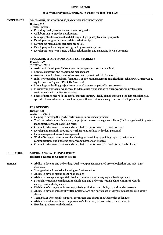 IT Advisory Resume Samples | Velvet Jobs