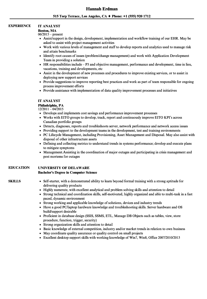 it analyst resume samples