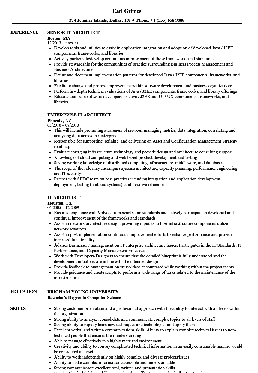 IT Architect Resume Samples   Velvet Jobs