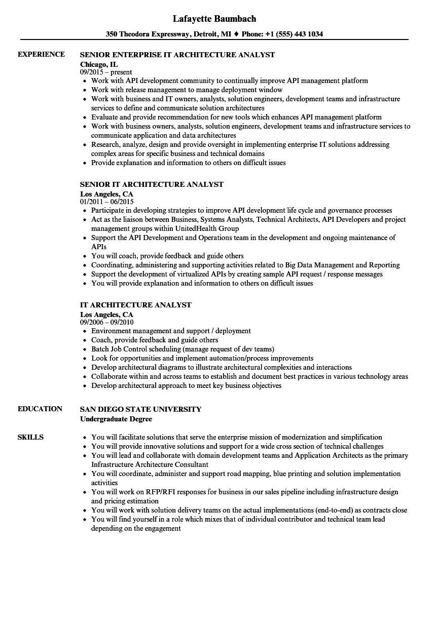 it architecture analyst resume samples