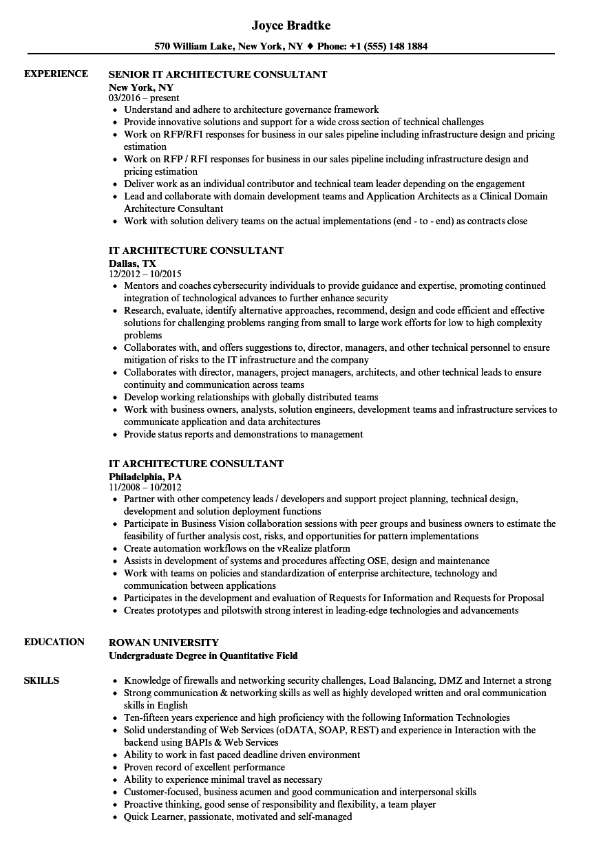 it architecture consultant resume samples