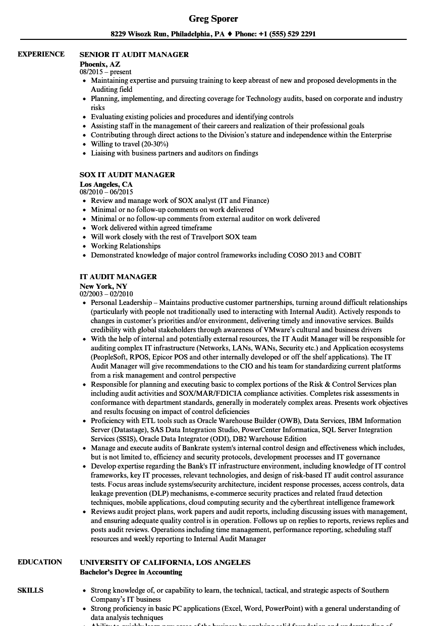 IT Audit Manager Resume Samples Velvet Jobs