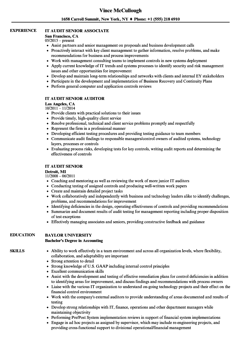 It Audit Senior Resume Samples Velvet Jobs