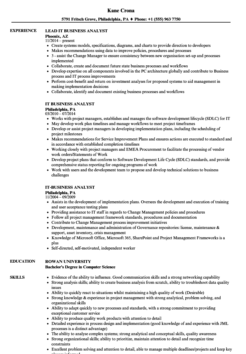 Download IT Business Analyst Resume Sample As Image File