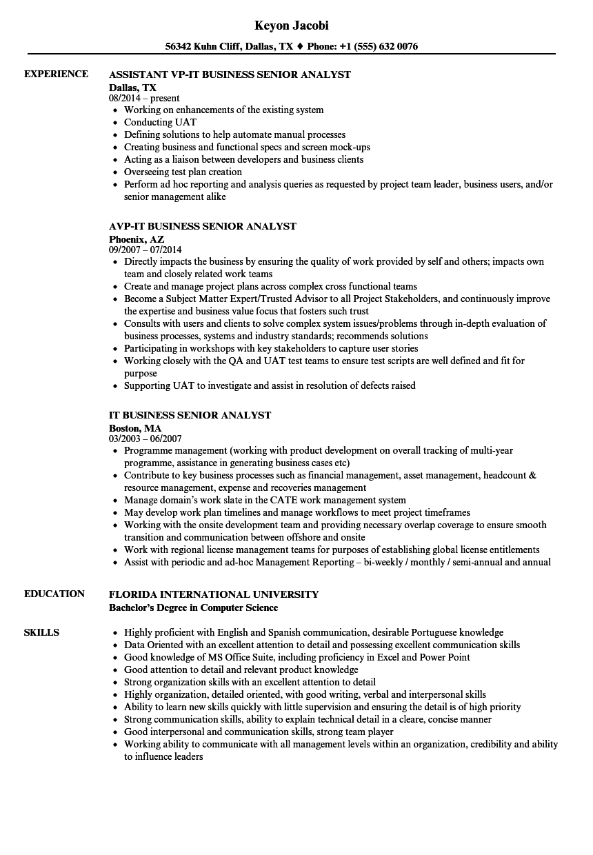 IT Business Senior Analyst Resume Samples | Velvet Jobs