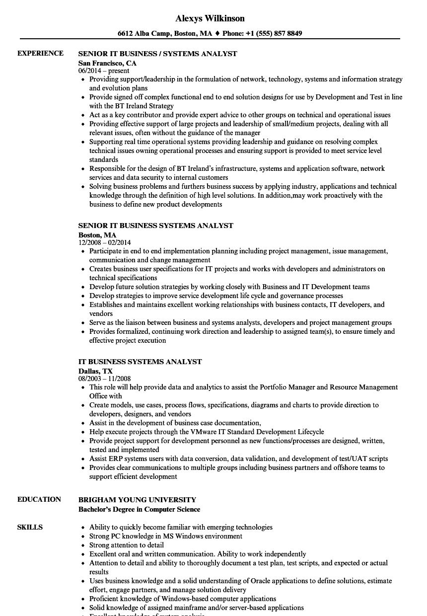 download it business systems analyst resume sample as image file - Business Systems Analyst Resume