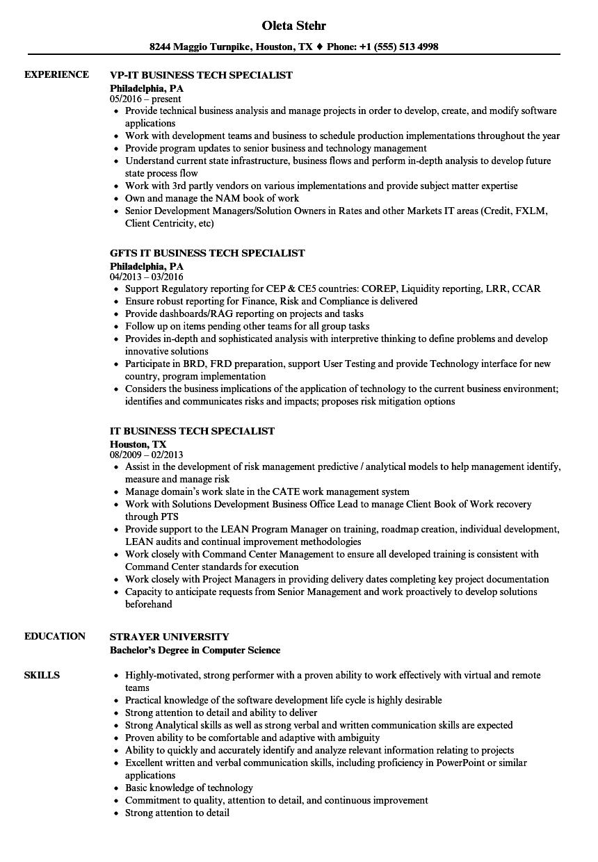 IT Business Tech Specialist Resume Samples | Velvet Jobs