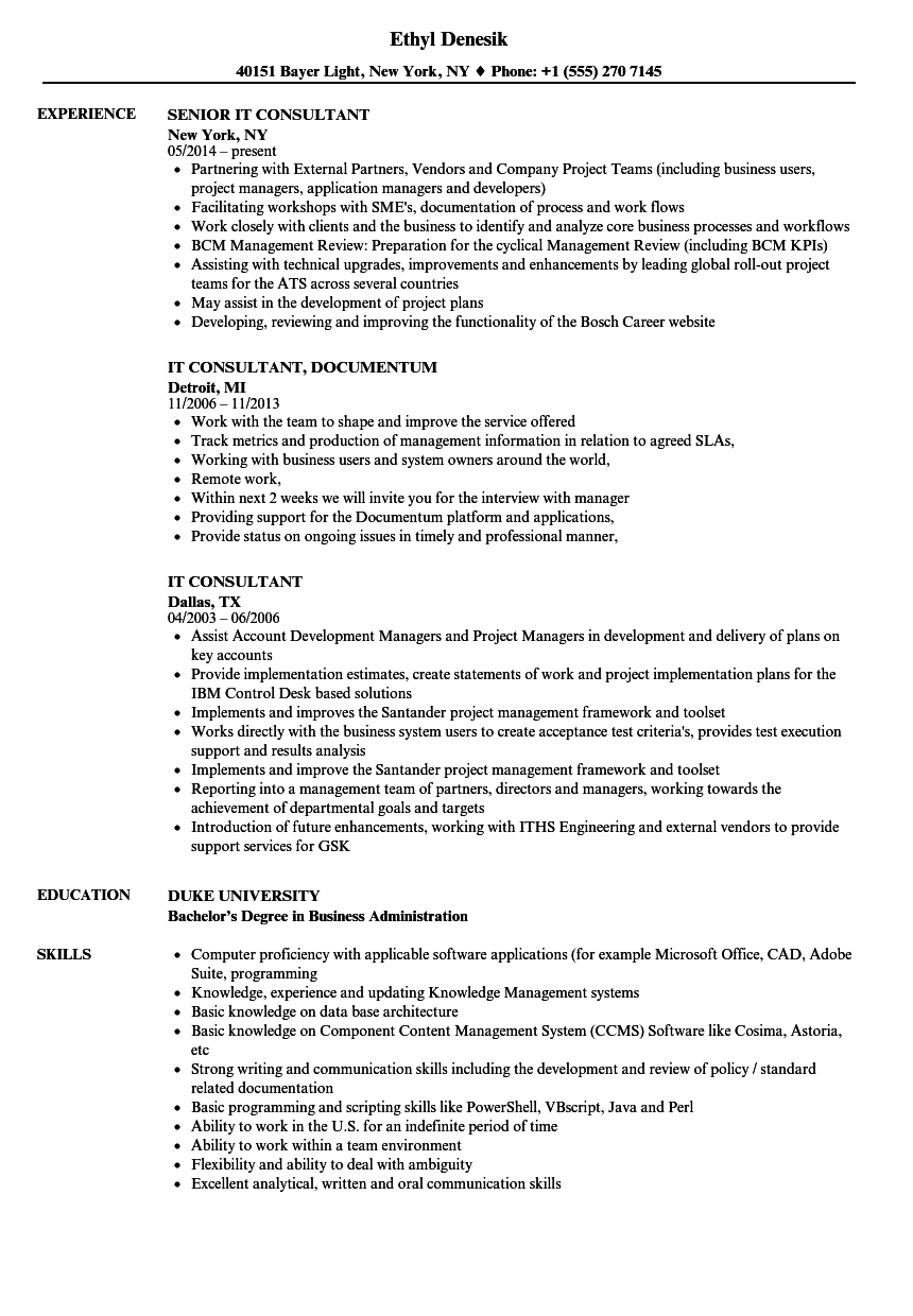 IT Consultant Resume Samples | Velvet Jobs