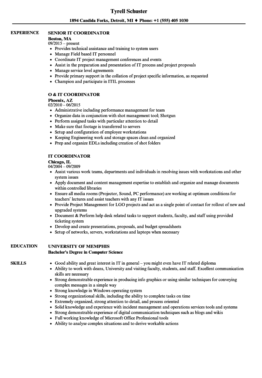 IT Coordinator Resume Samples | Velvet Jobs