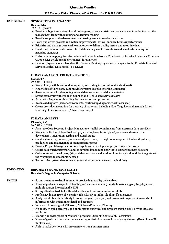 IT Data Analyst Resume Samples | Velvet Jobs