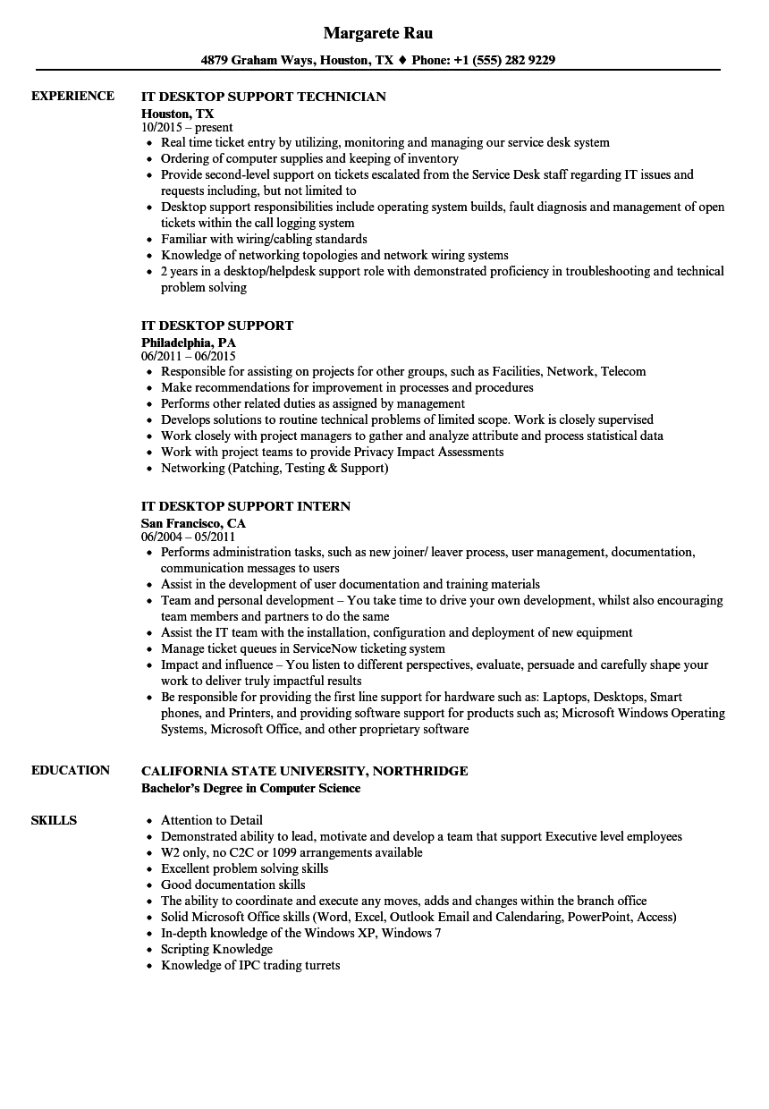 it desktop support resume samples