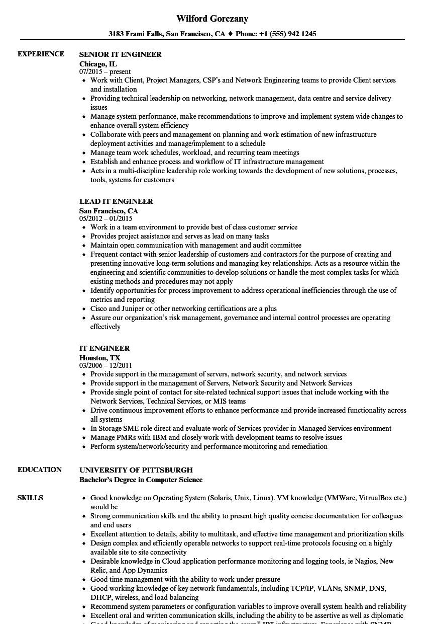 Download IT Engineer Resume Sample As Image File
