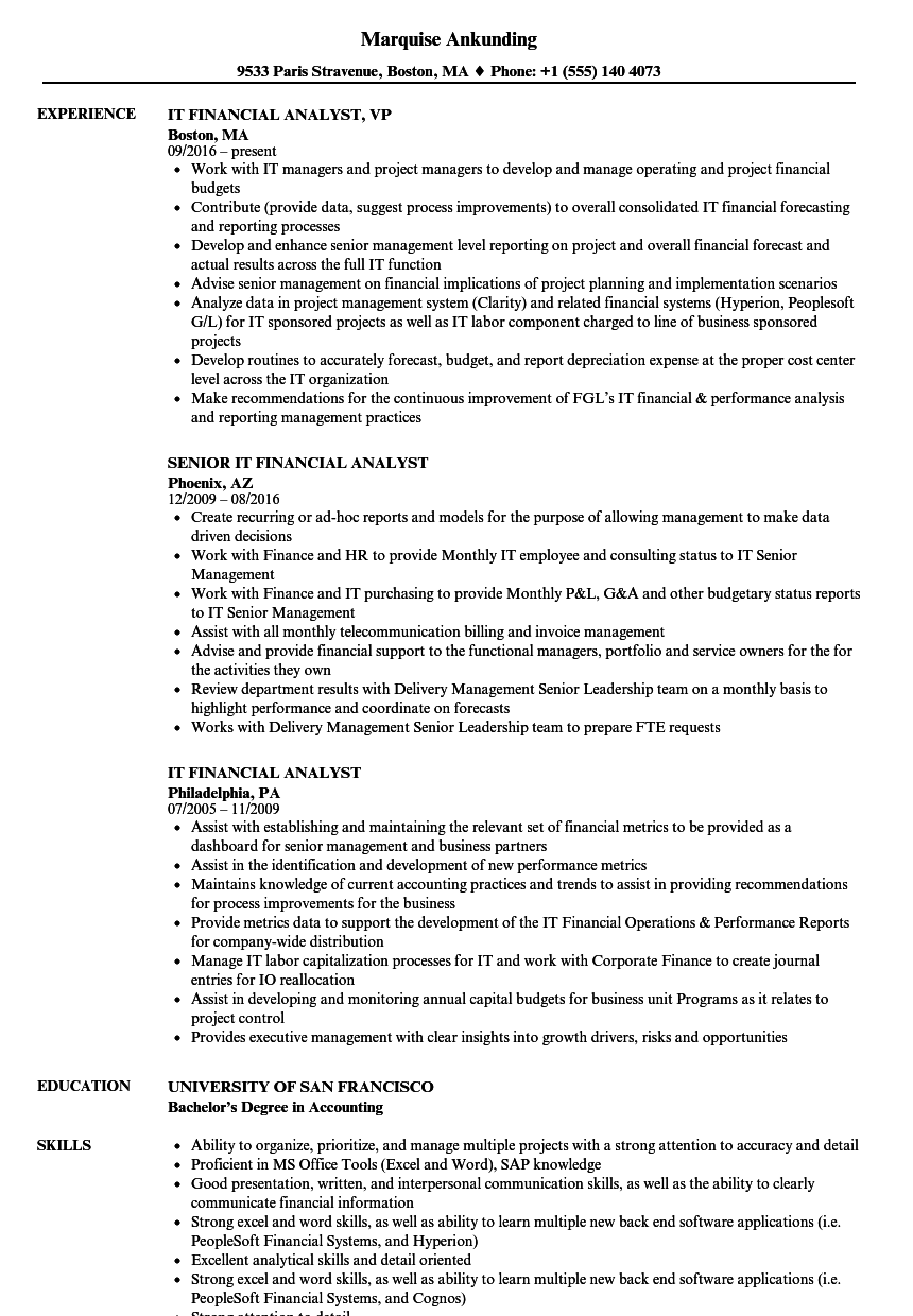 It Financial Analyst Resume Samples Velvet Jobs