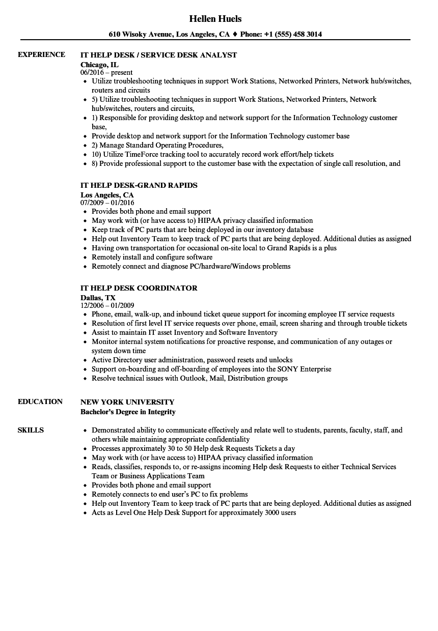 it    help desk resume samples