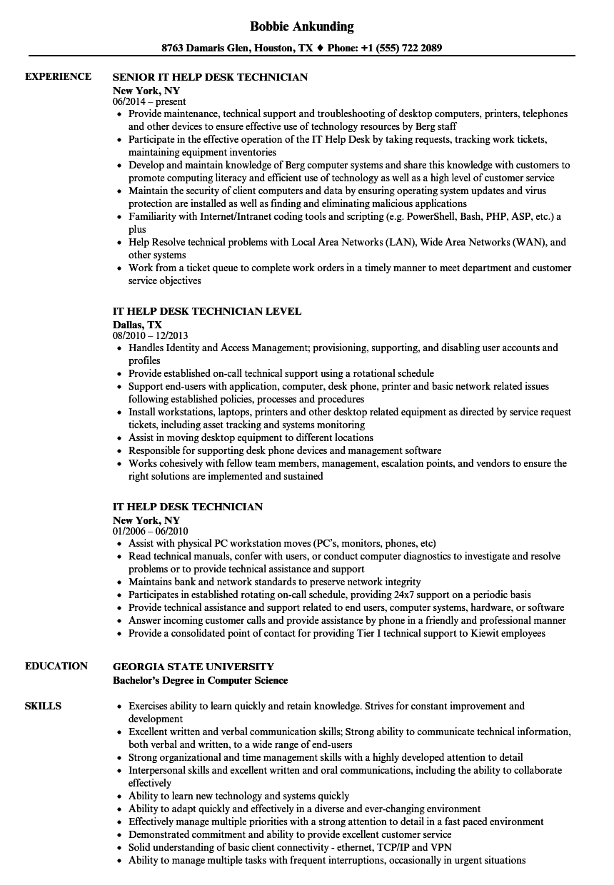 sample cv help desk technician