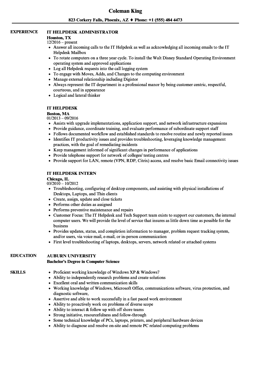 It Helpdesk Resume Samples Velvet Jobs