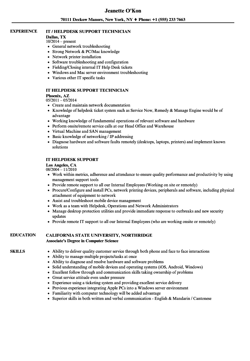 It Helpdesk Support Resume Samples Velvet Jobs