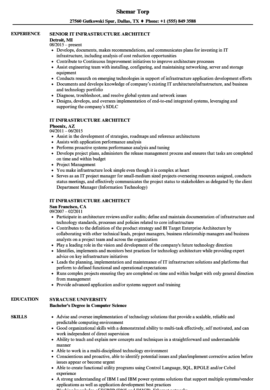 It Infrastructure Architect Resume Samples Velvet Jobs